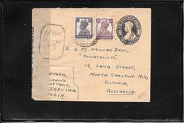 INDIA 1944, Uprated Censored Postal Stationery Mailed To Australia (ref 2821) - 1936-47 King George VI