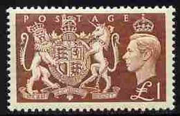 Great Britain 1951 KG6 Festival High Value £1 Royal Coat Of Arms Unmounted Mint, SG 512 - Unused Stamps