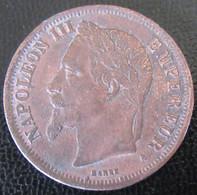 France - Curioisté - Monnaie 2 Francs Napoléon III Lauré 1868 A - Faux D'époque En Cuivre - Varietà E Curiosità