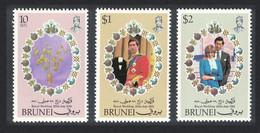 Brunei Charles And Diana Royal Wedding 3v 1981 MNH SG#304-306 - Brunei (...-1984)