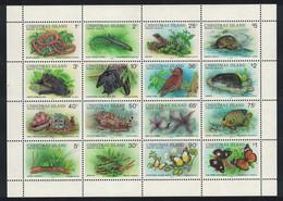 Christmas Is. Owl Birds Lizards Butterfly Fish Wildlife Sheetlet Of 16v RAR 1988 MNH SG#229a MI#233 II-248 II - Christmas Island