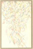 Balogh István (1890-1956): Színes Formák, 1948. Ceruza, Papír, Jelzett. Üvegezett Fa Keretben, 13×9 Cm / Pencil On Paper - Non Classificati