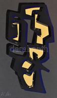 Frank Magda (1914-1997): Geometrikus Kompozíció. Szitanyomat, Papír, Jelzett. Számozott: 25/40. 33×17,5 Cm / Magda Frank - Non Classificati