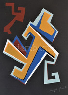 Frank Magda (1914-1997): Szoborterv. Szitanyomat, Papír, Jelzett. 33×17 Cm / Magda Frank (1914-1997): Statue. Screenprin - Non Classificati
