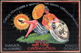 Gönczi-Gebhardt Tibor (1902-1994): Cipője Fényesebb A Napnál, Ha Kakas Pasztát Használ. Plakátterv 1927. Akvarell, Papír - Non Classificati