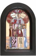 Fajka János (1935): Párok és Egyszarvúak, Tűzzománc, Hibátlan állapotban, Igényes Keretben 40×24 Cm.  1935-ben Született - Non Classificati