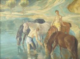 Udvary Pál (1900-1987): Itatás (Balatonpart?). Olaj, Vászon. Jelezve Balra Lent. Hátoldalán Képzőművészeti Alap Zsűri Cí - Non Classificati