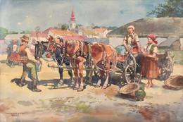 Wallburg Egon (Zórád Ernő) (Balassagyarmat, 1911 - Budapest, 2004) - Piaci Jelenet Akvarell, Papír 430 X 610 Mm Jelezve  - Non Classificati