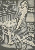 Molnár C. Pál (1894-1981): Bál Után, 1937. Fametszet, Papír, Jelzett. Üvegezett Fa Keretben. 29x22,5 Cm / Woodcut On Pap - Non Classificati