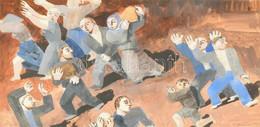 Forgács István (1915-): Jelenet, 1940-es évek. Tempera, Ceruza, Papír, Jelezve Jobbra Lent. Üvegezett Fa Keretben, 22,5× - Non Classificati