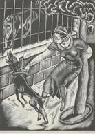 Molnár C. Pál (1894-1981): Kutyasétáltatás. Fametszet, Papír, Jelzett. Üvegezett Fa Keretben. 29x24 Cm / Woodcut On Pape - Non Classificati