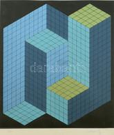 Victor Vasarely (1906 - 1997): Kinetikus Kompozíció Kék, Türkiz és Zöld Színben Fekete Alapon. Szitanyomat, Papír. Jelze - Non Classificati