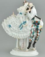 Harlequin és Kolumbina (az Orosz Balett Karnevál Figuracsoportból) Meissen, 1914 Körül (Paul Scheurich Modellje), Festet - Altri