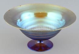 Art Deco Dísztál. Fúvott üveg, Bordázott Felületén Irizáló Díszítmény. Jelzés Nélkül. Peremén Apróbb Lepattanások. Német - Glass & Crystal