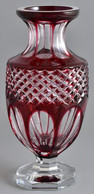 WMF Kétrétegű Bordó-átlátszó üveg Váza, Jelzett, Hámozott, Apró Hibákkal, M: 29 Cm - Glass & Crystal
