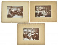 Cca 1910-1920 Szabótanfolyam Hallgatói Amerikában, W. E. Wright & Sons, 3 Db Kartonra Kasírozott Fotó, Kartonon Kisebb S - Non Classificati