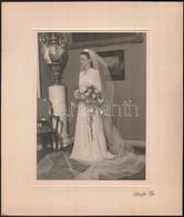 Cca 1938 Budapesti Lakásban Készült Menyasszonyi Felvétel, Schäffer Gyula Fényképész Vintage Fotója, 22,8x17 Cm, Karton  - Non Classificati