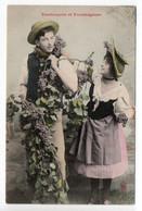 BERGERET - VENDANGEUR ET VENDANGEUSE - MAN & WOMAN - GRAPES -  USED  1906 -  FRANCE - Bergeret