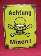 Emailleschild Achtung Minen  20 X 25 Cm - 1939-45