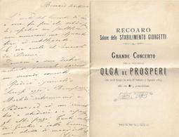 RECOARO - Salone Dello Stabilimento Giorgetti: GRANDE CONCERTO Della Violinista Olga De Prosperi - 5 Agosto 1893 - Non Classificati