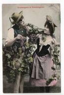 BERGERET - VENDANGEUR Et VENDANGEUSE - MAN & WOMAN - GRAPES -  USED Approx.  1906 -  FRANCE - Bergeret