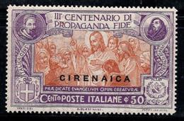 Cyrénaïque 1923 Sass. 3 Neuf * MH 100% Propagande Fide, 50 C - Cirenaica