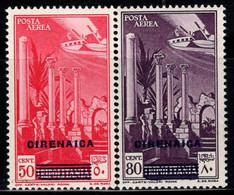 Cyrénaïque 1932 Sass. 4-5 Neuf * MH 100% Poste Aérienne 50 C, 80 C - Cirenaica