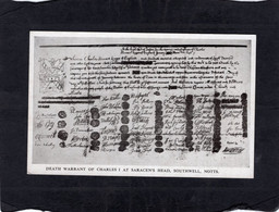 "104672       Regno  Unito,  Death  Warrant  Of  Charles  I At  Saracen""s  Head,   Southwell,  Notts.,  NV - Altri"