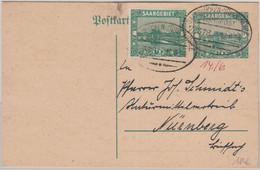 Saargebiet - Saarbücken Türkismühle Bahnpost Z. 378 Ganzsache Niederlinxweiler - Covers & Documents