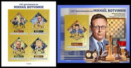 CENTRAL AFRICA 2021 - Mikhail Botvinnik (Gold) M/S + S/S. Official Issue [CA210434-g] - Ajedrez