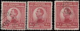 Yougoslavie 1923 ~ YT 151 Lot De 3  - 5 D. Alexandre 1er - Usati