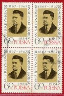 POLAND 1967 Reymont Centenary Block Of 4 Used.  Michel 1817 - Used Stamps