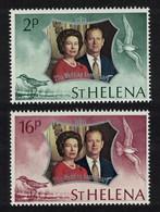 St. Helena Royal Silver Wedding 2v 1972 MNH SG#289-290 MI#258-259 - St. Helena