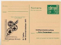 DDR P79-1d-77 C37-d Postkarte PRIVATER ZUDRUCK ADRESSFELD Schach Frankfurt/Oder 1977 - Privatpostkarten - Ungebraucht