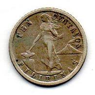 PHILIPPINES, 10 Centavos, Silver, Year 1918, KM #169 - Philippines