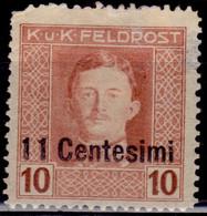 Italy, 1918, Austrian FeldPost Occupation, Surcharge,11c/10h, Sc#N6, MH - Austrian Occupation