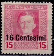 Italy, 1918, Austrian FeldPost Occupation, Surcharge,16c/15h, Sc#N8, MH - Austrian Occupation
