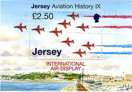 Jersey 2007 Air Display British Aerospace Hawk, Red Arrows  (Michel Bl 65, St Gibbons MS 1332) - Airplanes