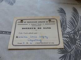 27-9 , 111 , Carte De Donneur De Sang, Centre De Transfusion Sanguine De Béziers, 1957 - Documentos Históricos