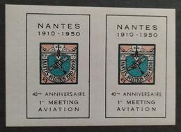 NANTES / 40ème Anniversaire Du 1er Meeting D'aviation / Paire 2 Vignettes 1950 - Aviation
