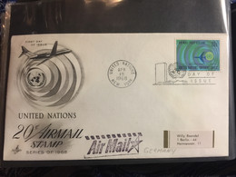 UNO : NEW YORK FDC   20C Airmail Stamp / Airplanes - FDC
