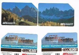 TELECOM ITALIA - C.& C. 2728.2729 - DOLOMITI BILINGUE AA (SERIE PUZZLE DI 2 SCHEDE)  - USATA - Pubbliche Speciali O Commemorative