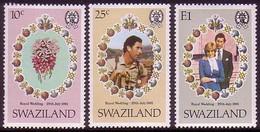 Swaziland Charles And Diana Royal Wedding 3v 1981 MNH SG#376-378 MI#375-377 - Swaziland (1968-...)