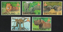 Swaziland Rhino Elephant Lion Buffalo Leopard Fauna Big Five Animals 5v 2016 MNH - Swaziland (1968-...)