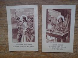 Assez Rare Lot De 2 Anciennes Images Religieuses Pour Le Monde Du Travail - Images Religieuses
