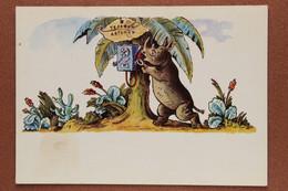 Russian USSR Postcard 1969 Africa. Phone Booth On A Palm Tree. Rhinoceros. Cactus. By Konashevich - Rhinoceros