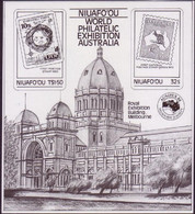 Tonga Niuafo'ou Proof In Black & White  - 1984 Ausipex S/S - Stamp On Stamp - Francobolli Su Francobolli