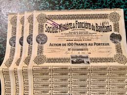 Sté  MINIÈRE  &  FONCIÈRE  Du  BANDAMA  ------Lot  De  4  Actions  De  100 Frs - Mines