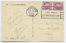 MAZELIN 1FR50 VIOLET PAIRE CARTE MEC TROYES GARE 15.VII.1947 AU TARIF - 1945-47 Ceres Of Mazelin