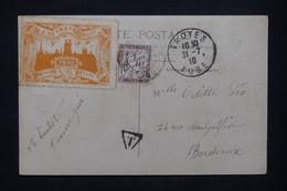 FRANCE - Vignette De La 1ère Etape ( Troyes ) Du Circuit Aérien De L'Est Sur Carte Photo Taxée En 1910 - L 107746 - Aviation